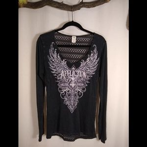 AFFLICTION black lace back long sleeve top